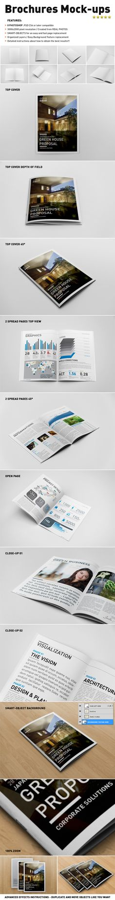 Photorealistic Brochure Mock-ups Templates by Andrea Balzano, via Behance