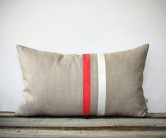 Coral and Cream Striped Lumbar Pillow (12x20) Modern Home Decor by JillianReneDecor - Minimal (More Colors)