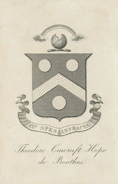 [Bookplate of Theodore Cracraft Hope de Boothes] by Pratt Libraries Pratt Institute, Library Website, Ex Libris, Coat Of Arms, Country Chic, Logos, Chevron, Vintage World Maps, Victorian