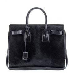 Saint Laurent Sac De Jour Small Calf Hair Tote ($2,840) ❤ liked on Polyvore featuring bags, handbags, tote bags, black, tote hand bags, yves saint laurent handbags, tote bag purse, tote purses and yves saint laurent purses