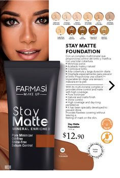 Farmasi Stay Matte foundation improves skin quality while covering imperfections. - Farmasi Stay Matte foundation improves skin quality while covering imperfections with no demarcatio - Best Matte Foundation, Foundation Primer, Makeup Boutique, Farmasi Cosmetics, Best Eyebrow Products, Beauty Consultant, Skin Makeup, Body Care, Natural