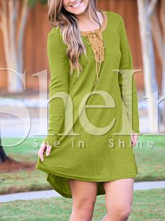 Green Lace Up Neck Elbow Patch T-shirt Dress 15.99