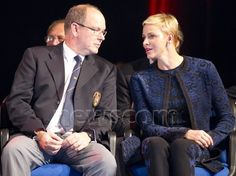 On October 22, 2016, Prince Albert of Monaco and Princess Charlene of Monaco attend the Prizes ceremony of the 2016 World Rowing coastal championship at the Salle du Canton in Monaco.