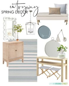 Hippie Home Decor Entryway spring decorating ideas. I love the blue and white color palette with pops of green that feel so fresh for spring decor! Decor, Spring Decor, Cheap Decor, Summer Decor, Dining Room Design, Cheap Home Decor, Entryway Decor, Home Decor, House Interior
