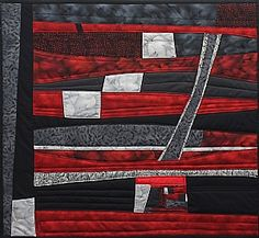 """Autumn Evening    Medium: Fiber on quilt backing and batting  Size: 21 3/8"""" x 23 3/8""""  Price: $600.00 USD  Availability: Available"""