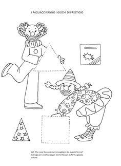 Blog scuola, Schede didattiche scuola dell'infanzia, La maestra Linda, Schede didattiche da scaricare, Sunday School Coloring Pages, Preschool Activities, Snoopy, Shapes, Teaching, Drawings, Crafts, Clowns, Arabic Alphabet