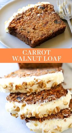 Carrot And Walnut Cake, Carrot Cake Bread, Bread Cake, Carrot Loaf, Carrot Bread Recipe Moist, Walnut Cake Recipe Easy, Loaf Cake, Carrot Cakes, Carrot Cake Frosting
