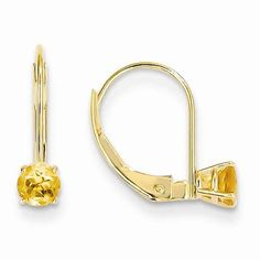 $155  14k 4mm Round November/Citrine Leverback Earrings | IceCarats.com