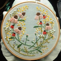Embroidery wreath for a friend's birthday: coneflowers, goldenrod, carrot flowers, and a kind of made up virginia dayflower on linen gauze.