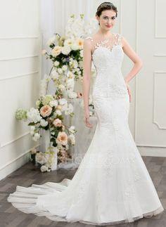 [US$ 236.69] Trumpet/Mermaid Scoop Neck Chapel Train Tulle Lace Wedding Dress