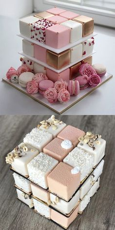 A base of these (if they're like mini cakes not petit fours). Then a square … A base of these (if they're like mini cakes not petit fours). Then a square layer on top to cut. Beautiful Wedding Cakes, Beautiful Cakes, Amazing Cakes, Beautiful Cake Designs, Mini Cakes, Cupcake Cakes, Macaron Cake, Pretty Cakes, Creative Cakes