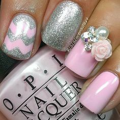 Light Pink and Silver Nail Design
