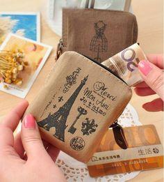 Paris Memories Flax Canvas Square Wallet Cute Keybag Coinbag
