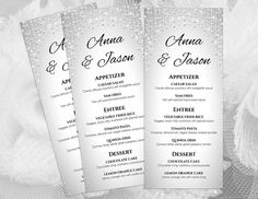 Wedding Menu Templates  Winter Blue Turquoise Dahlia Flower