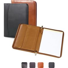 "Leather zip pocket padfolio. Traditional padfolio with 8.5"" x 11' writing tablet. Pen loop and full length vertical pocket and additional pockets for business cards. Zips completely shut for security.  It is available in 3 colors."