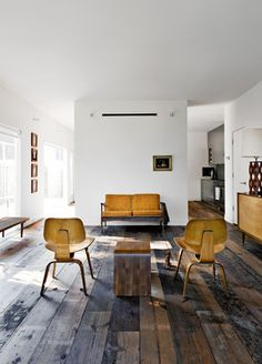 Walsh and Strongin's living room strikes a more rustic note