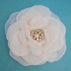Bridal Hair Flower  Ivory Chiffon and Organza Rose by HARTfeltart, $32.00