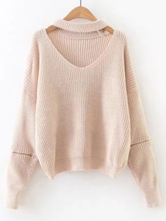 Shop Apricot Choker V Neck Zipper Sleeve Sweater online. SheIn offers Apricot Choker V Neck Zipper Sleeve Sweater & more to fit your fashionable needs.