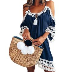 34bc24a7456 Emma Loose Tassel Beach Sundress – ooMAXI Plus Size Dresses