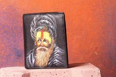 Indian Agohri Saint Had Painted On Men's Leather Wallet By VKALART