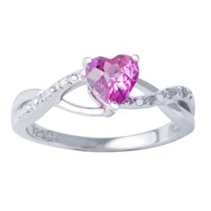 H Star Sterling Silver Created Sapphire and Diamond Ring