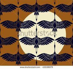 seamless pattern in the form of stylized birds cranes flying on the background of a sunset. on orange background yellow sun and dark birds.