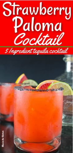 Enjoy this Strawberry Paloma Cocktail for any party or get together with friends. A refreshing and delicious party drink featuring tequila, fresh strawberries, grapefruit and lime. Strawberry Cocktails, Fruity Cocktails, Cocktail Drinks, Cocktail Recipes, Cocktail Tequila, Tequila Tequila, Strawberry Tequila, Craft Cocktails, Drink Recipes