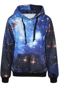 Pretty blue galaxy print hoodie. | On sale for only $20.77. Hurry before it ends!