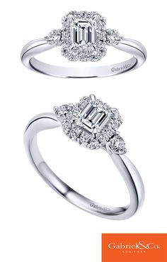 Beautiful 14k White Gold Diamond Halo Engagement Ring by Gabriel & Co.