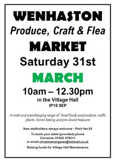 Date For Your Diary: Saturday 31 March 2018. Produce, Craft & Flea Market. 10am - 12:30pm. Wenhaston Village Hall, IP19 9EP. A wide and ever-changing range of local foods and produce, crafts, plants, home-baking and pre-loved treasures. https://www.facebook.com/wenhastonmarket/ I'll be there as usual selling a selection of my new leather goods... made from repurposed leather scraps sourced from clothing, sofa and shoe factories; all handstitched by yours truly. Hope to see you there :D xxx