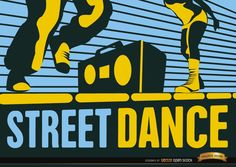 Vintage style wallpaper showing boy and girl legs dancing hip-hop with a radio in the street. It's a nice wallpaper to use for events related to hip-hop, street dance, dancing competitions, and more. High quality JPG included. Under Commons 4.0. Attribution License.