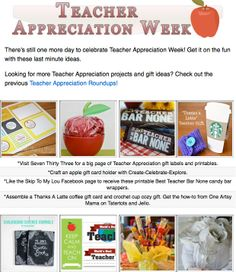 8 diy teacher appreciation projects! DIY gifts, printables and projects for teacher appreciation or the last day of school!