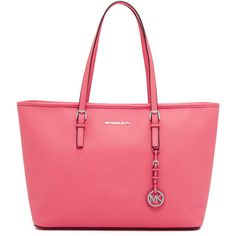 MICHAEL Michael Kors Jet Set Multifunction Tote featuring polyvore women's fashion bags handbags tote bags coral red tote red leather tote bag leather tote bags leather handbag tote handbags totes