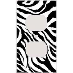 Jagged Zebra Skin Print Decorative Outlet Cover