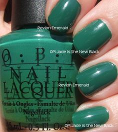 """Just rocked this OPI """"Jade is the New Black"""". Apparently Revlon """"Emerald"""" is a comparable dupe. Must look into this."""