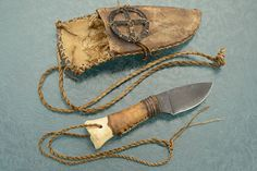 Deer Bone Medicine Wheel Neck Knife