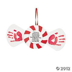 """Handprint Peppermint Keepsake Craft  """"I think you're as sweet as candy. Your love always makes me smile. Please keep these hands to remind you, of when I was a sweet little child."""""""