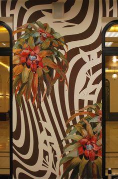 Wall Painting, flowers in zebra, Irina Dolgikh