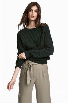 Sweter w prążki - Ciemnozielony - ONA | H&M PL