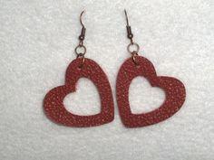 Leather Earrings Heart Red Handmade Dangle Boho Minimalist #Handmade #DropDangle
