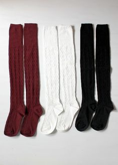 Essential quality thigh high socks feature cable knit design all over. Socks have a soft and very stretchy fit. Wear these with sneakers, ankle booties, combat boots, or platform heels and pair with any outfit to add a stylish hint of fall. Thigh High Socks, Thigh Highs, Knee Highs, Mein Style, Cute Socks, Knitting Designs, Hipster, Ankle Booties, Heel Boots