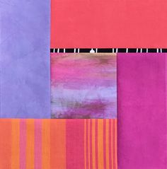 A new block for my Color Mirage quilt design, with hand-dyes, shot cottons, and woven stripes.