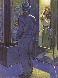'On Call', Al Parker painting with strong Edward Hopper influences Edward Hopper, Vintage Romance, Vintage Art, Vintage Prints, Arte Pulp Fiction, Art Moderne, Pulp Art, American Artists, Fine Art