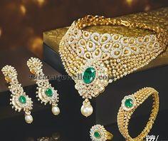 Jewellery Designs: Diamond Choker Kada and Ring