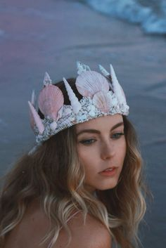 ☾ ☆☽ More glitter magic from Wild & Free Jewelry. Introducing the enchanting Fairy Dust Mermaid Crown. A perfect soft pink array of sparkling seashells attached to an adjustable frame. Designed for th
