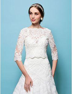 75456902d40ac fête de mariage en dentelle   soirée de mariage captives capelets style  élégant Bolero Dentelle