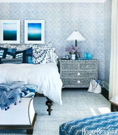 Best Modern Blue Bedroom for Your Home - bedroom design inspiration - bedroom design styles - bedroom furniture ideas - A modern theme for your bedroom can be just attained with bold blue wallpaper in an abstract style and also formed bedlinen Beautiful Bedrooms, Beautiful Homes, House Beautiful, Modern Bedrooms, Master Bedrooms, Blue Bedrooms, Beautiful Gorgeous, Master Suite, Room Ideias