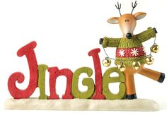 Jingle with Reindeer on Base Figurine (Set of 2)