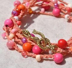 Pinky Coral 5X Crochet Bracelet w Mermaid Clasp, Beach Boho Bracelet, Sea Life Jewelry, Coastal Bracelet, Beach Bracelet