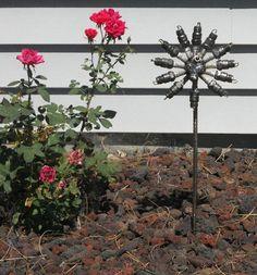 Spark Plug Flower Stake Metal Sculpture Yard by rustaboutcreations